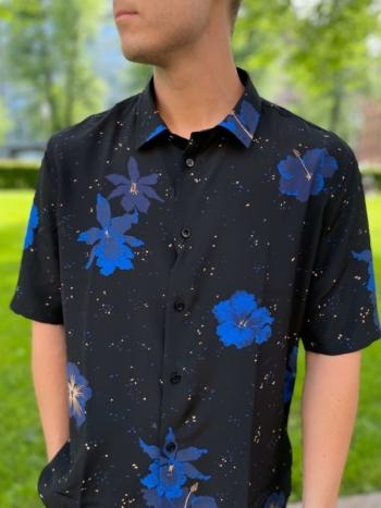 Saint Laurent Short-sleeved floral silk shirt